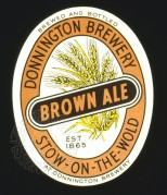 Bottle label for Donnington Brewery's Brown Ale
