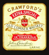 Label for Crawford's Extra Special Old Comber Whiskey
