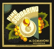 Label for Fine Sorbarino, a type of brandy