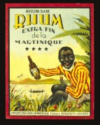 Label for Rhum-Sam, Extra fine Rhum from Martinique