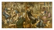 An allegorical romantic painting of women under spell in garden