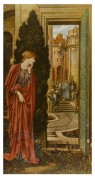 Woman looks on through castle courtyard door at the trial of religious man in blue gown