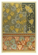 Textiles Medieval tapestry style design pink, muted yellows and green