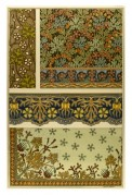 Medieval print design black and muted browns and reds wallpaper plus borders