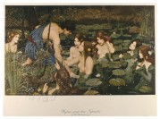 Neo Classic work of Kylas and the Nymphs bathing mythological literary images