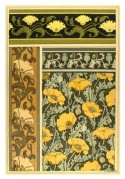 Art Nouveau, Japanese style design yellow, muted pink poppy designs