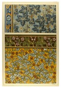 Flower designs in rich colourful patterns using muted dark blues and reds