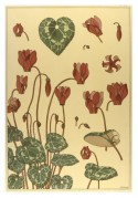 Art Nouveau,Japanese style flower designs  muted yellows, greens and reds