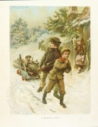 Snow scene old world children