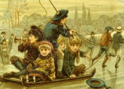 French Children Playing on the Ice