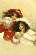 Two Girls Keep Warm in the Snow