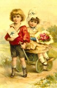 Two Children with a Cart