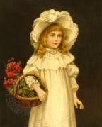 A Girl carrying a Flower Basket