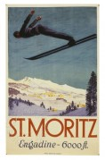 Dramatic ski jump adverting St Moritz