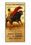 Bullfighting poster featuring Andres Vaquez and 'El Cordobes'
