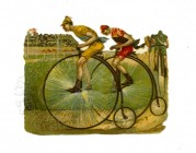 "Illustration of 'Penny Farthing"" racers"