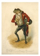 A well dressed frog on a greetings card