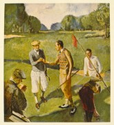 Golfing illustration of 5 men on a green