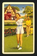 UK playing card with a girl playing golf