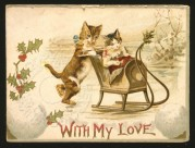 Two cats on a Valentines card