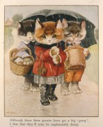 Three cats under an umbrella