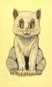 French line illustration of a cat