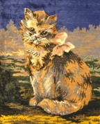 Cat with bow woven in a rug