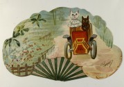 French card of two cats in a car