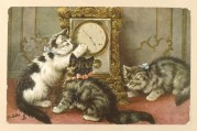 Three cats inspect the clock
