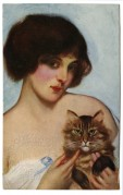 A Young Lady poses with her cat