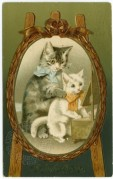 Two Cats in a Mirror on a Christmas Card