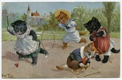 Four cats playing