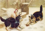 Three Kittens Play in the Snow