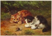 Two Cats with a Snail