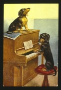 Two Dachsunds, one singing and one playing a piano