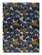 Blue leaf pattern interspersed with striped 'fruit'