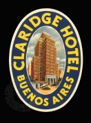 Label for Claridge Hotel, Buenos Aires