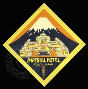 Label for Imperial Hotel in Tokyo, Japan