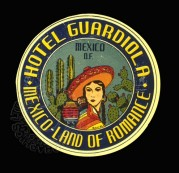 Luggage Label for Hotel Guardiol, Mexico