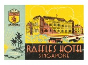 Label for Raffles Hotel, Singapore