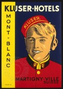 Label for Kluser Hotels, Mont Blanc