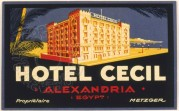 Luggage Label for Hotel Cecil, Alexandria