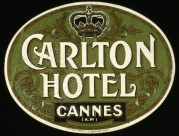 Luggage Label for Carlton Hotel, Cannes