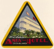 Luggage Label for Anfa Hotel, Casa Blanca