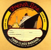French Line Shipping Luggage Label