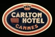 Carlton Hotel, Cannes Luggage Label