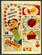 Adverts for Caramets and Mary Baker Cake Mixes