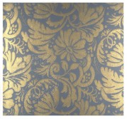 Flock wallpaper pattern in blue and gold