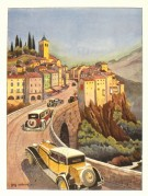 Illustration of cars passing through an Italian village