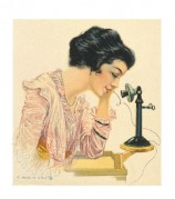 Elegant lady with a 'modern' telephone